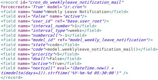 Odoo Scheduledaction XMLcode