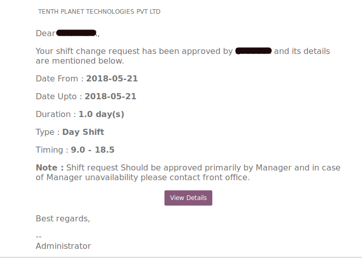 Odoo Shift approval email notification