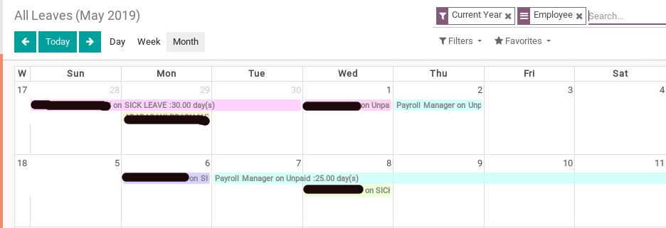 Odoo leave calendar