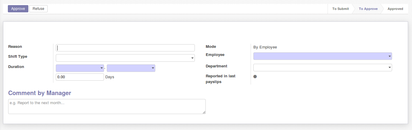 Odoo shift request