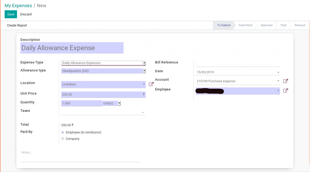 expenses creation