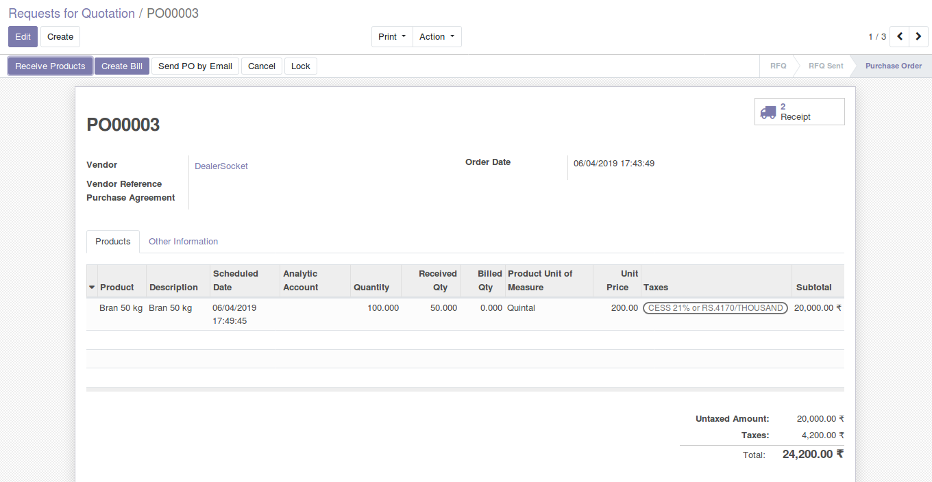 Odoo Purchase Management img13