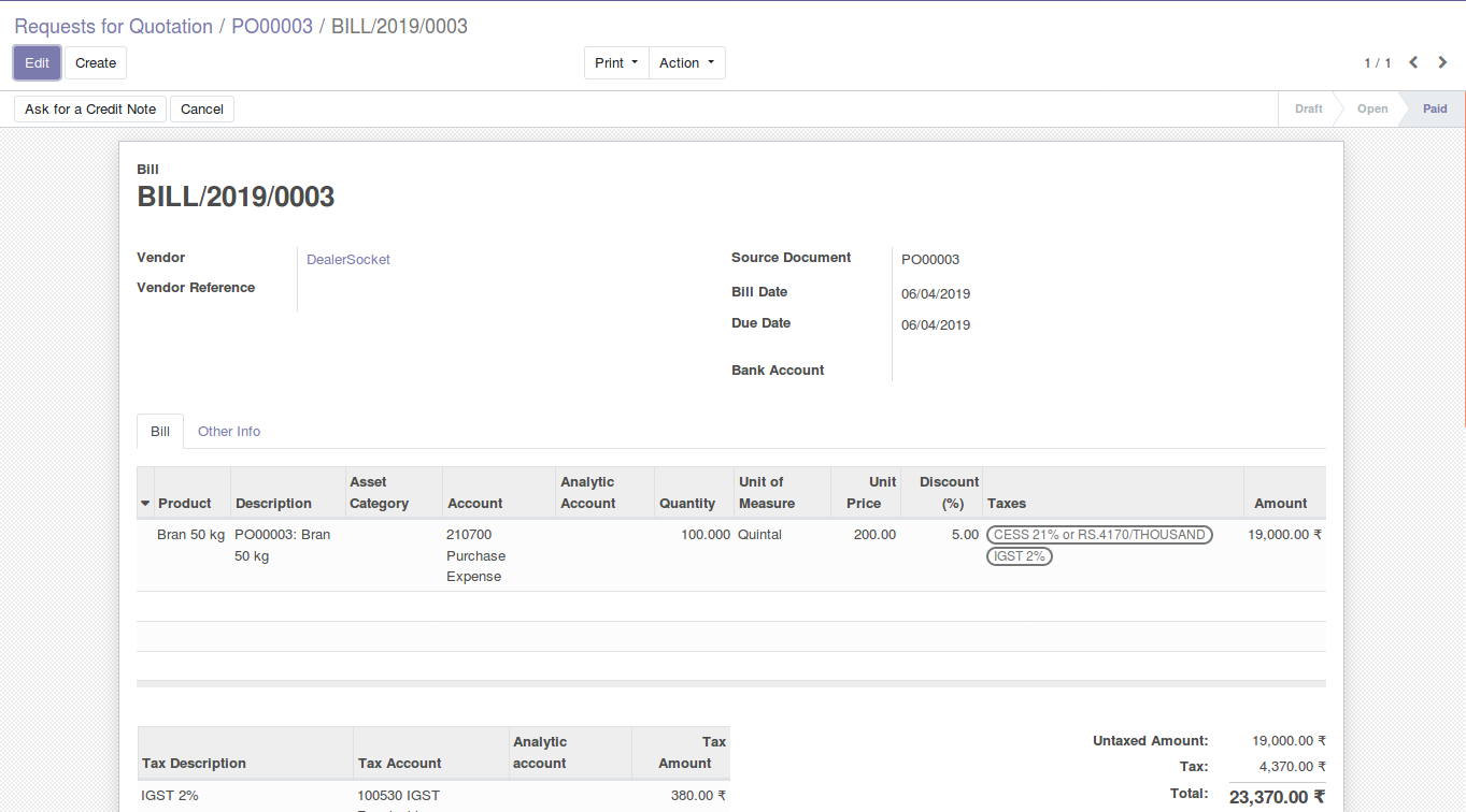 Odoo Purchase Management img18