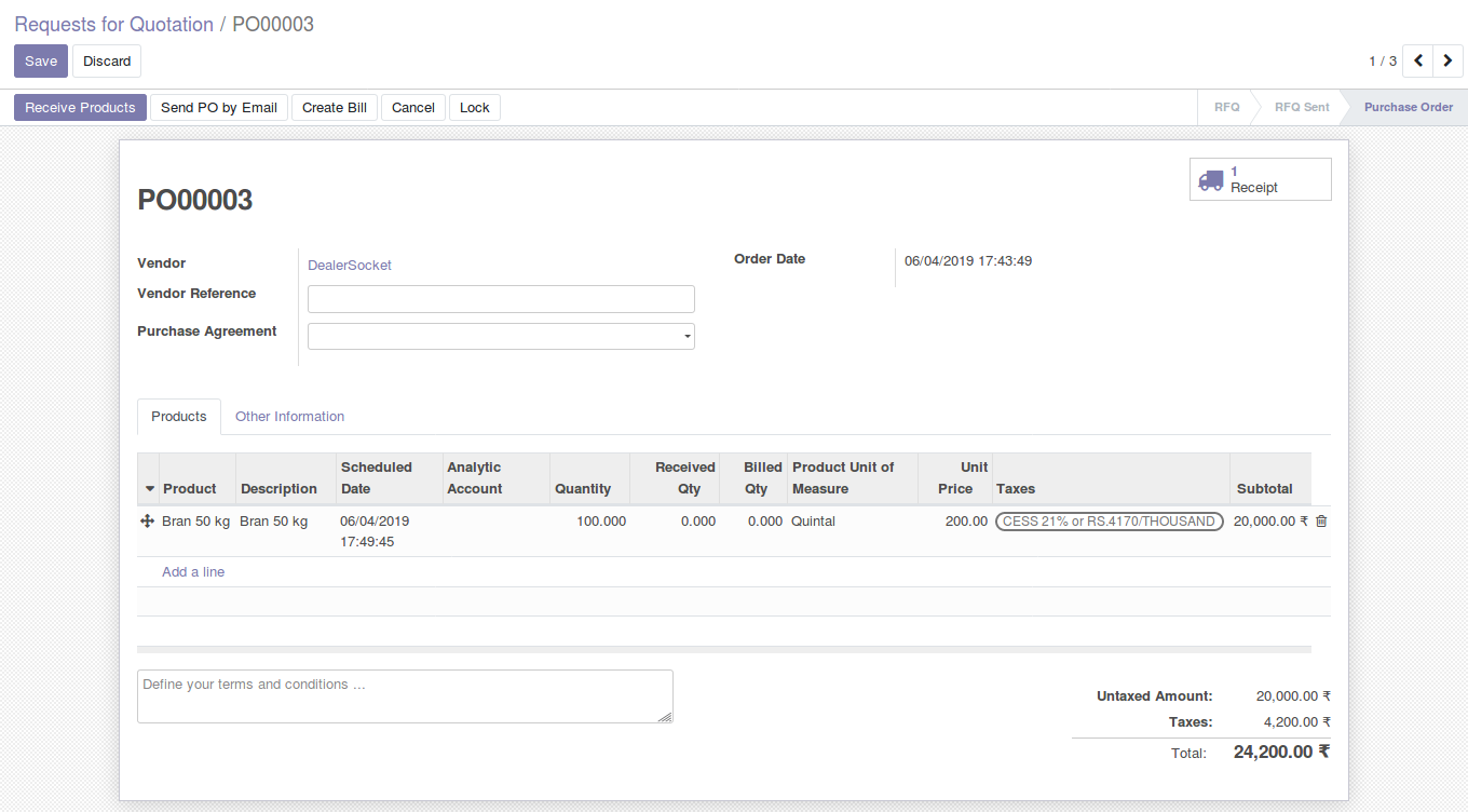Odoo Purchase Management img5