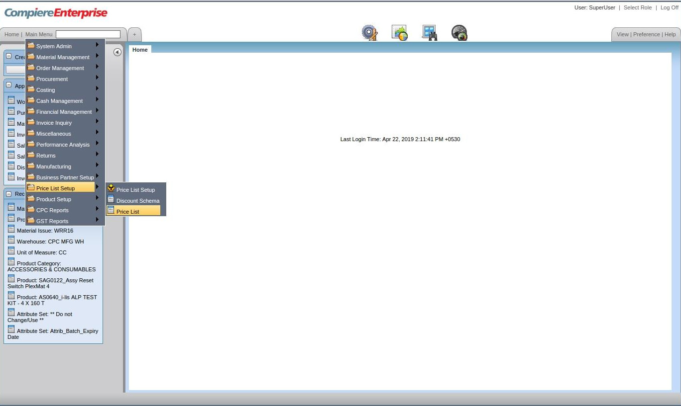 Compiere_ERP_Training_Price List Setup